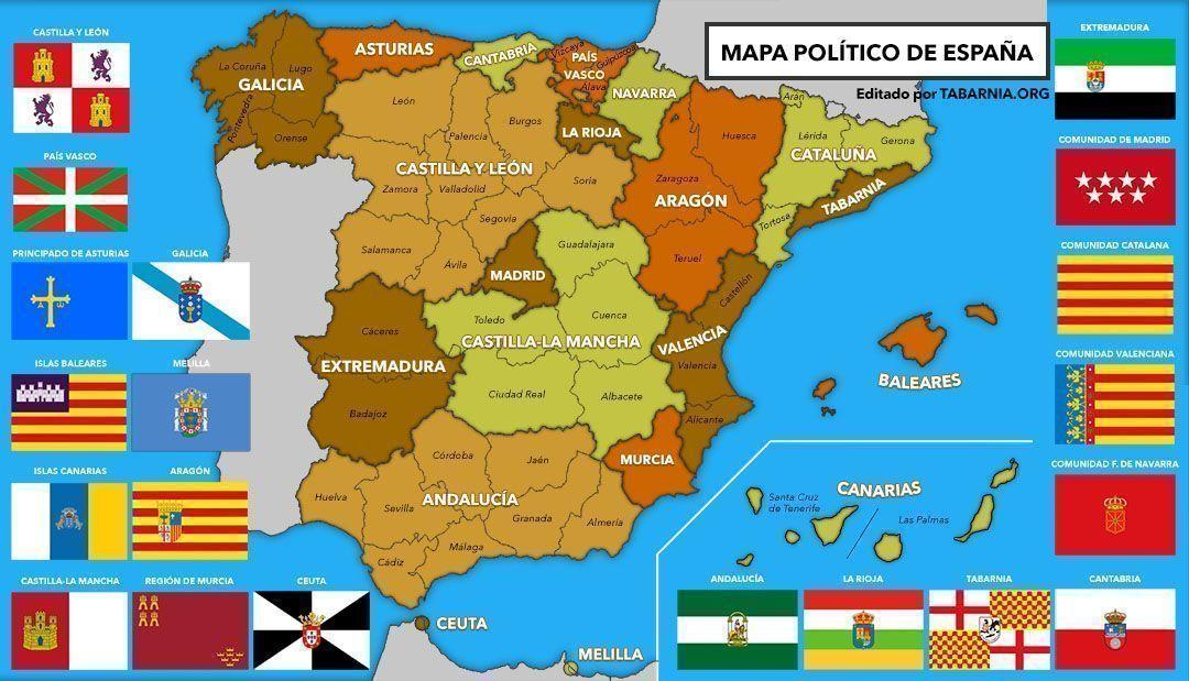 Mapa de las comunidades autónomas españolas con Tabarnia.