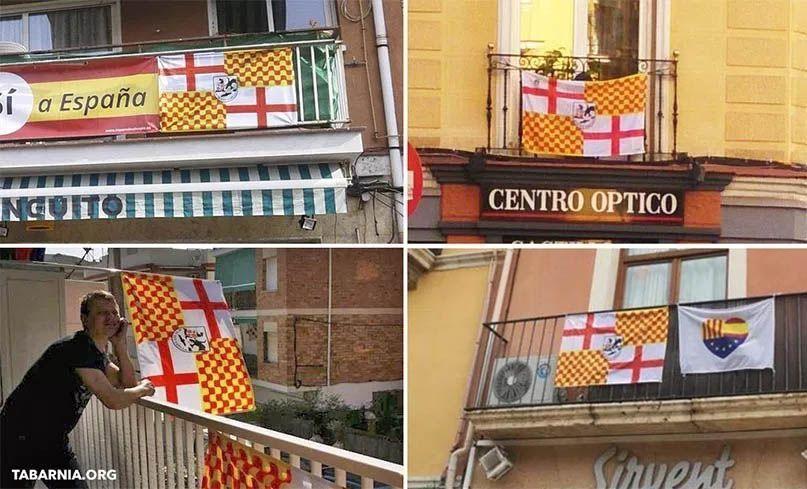 Banderas de Tabarnia en las ventanas. Plataforma por Tabarnia. Tabarnia.org