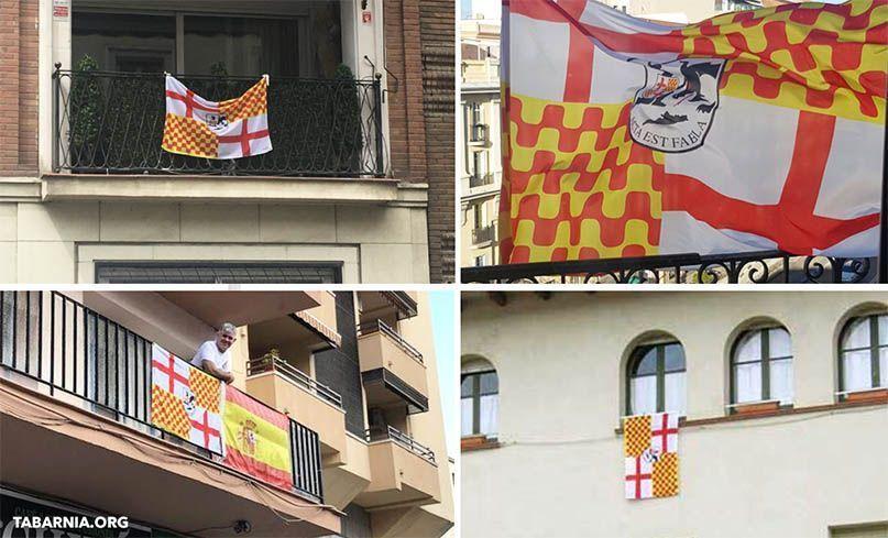 Banderas de Tabarnia en las fachadas de los edificios. Tabarnia.org