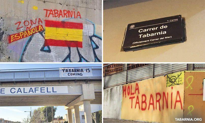 Graffitis y carteles a favor de Tabarnia. Tabarnia.org