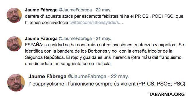 Tuits supremacistas de Jaume Fàbrega i Colom. Plataforma por Tabarnia.