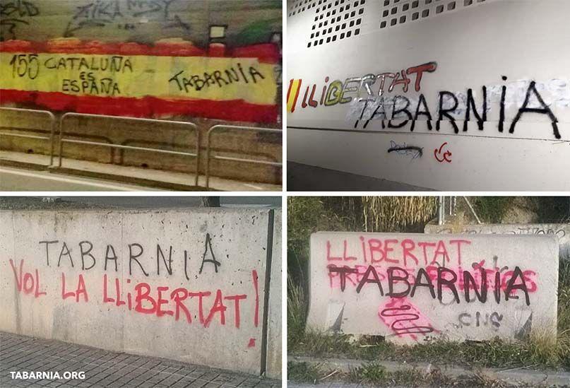 Pintadas a favor de Plataforma por Tabarnia. Tabarnia.org