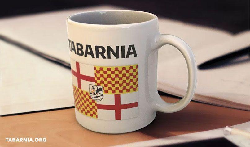 Taza oficial de Plataforma por Tabarnia con bandera con escudo.